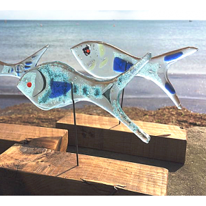 Fused Glass Fish on Driftwood