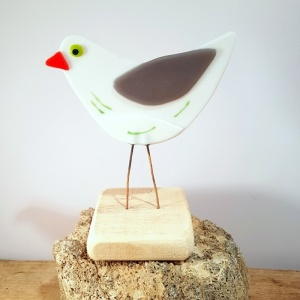 Seagull in Fused Glass on Driftwood