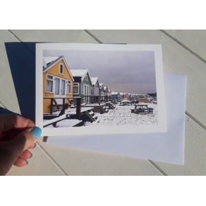 Beach Huts in Snow yellow