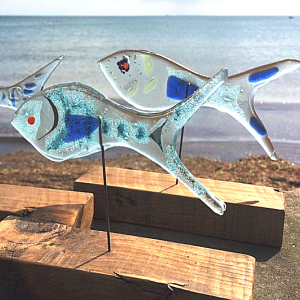 Large Glass Fish on Timber Base