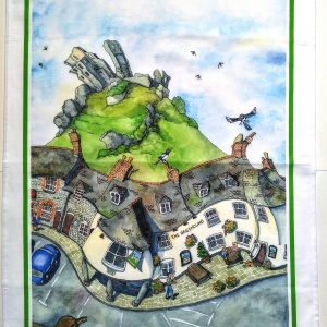 corfe_castle_tea_towel_flat