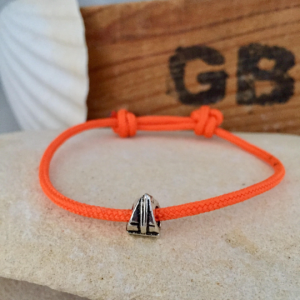 Adjustable Sailing bracelet with silver boat