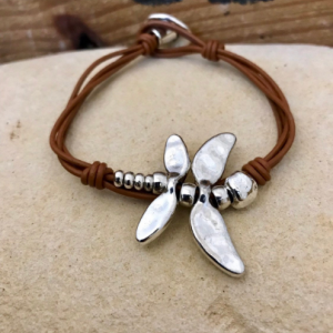 Silver Dragonfly leather bracelet