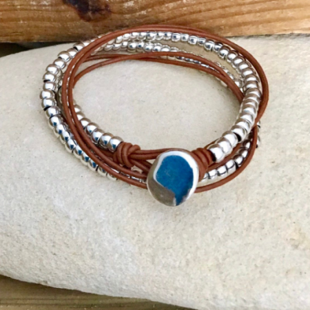 Multiwrap leather and silver bead bracelet