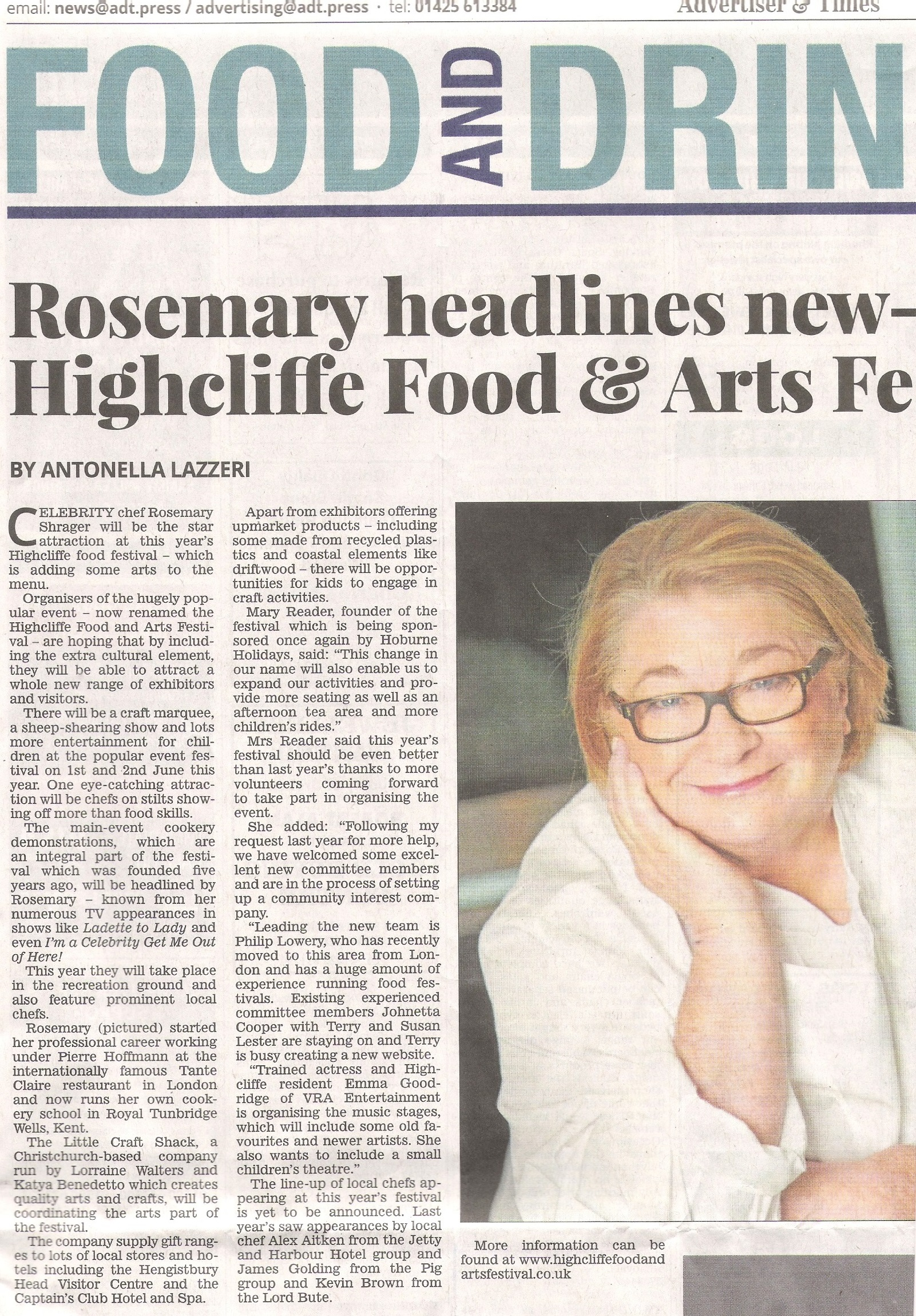 Highcliffe Food & Arts Festival with Rosemary Shrager